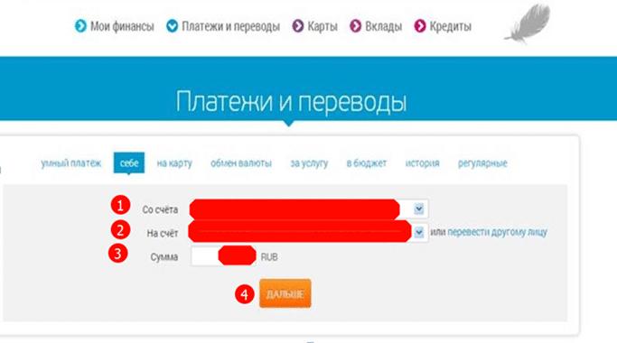 платежи и переводы в кабинете интернет-банка